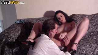 Busty brunette in shoes Ella plays with her boyfriend