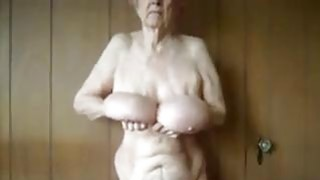 Granny Shows Off Her Saggy Breasts