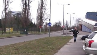 Blonde flashing firm small tits outdoor at cold day Thumbnail