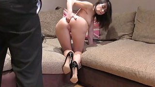Amateur babe fisting own ass in casting