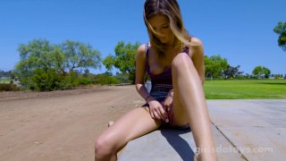 Pretty hot gal toys her pussy and masturbates outdoors solo Thumbnail