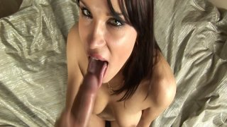 Fantastic girl Angel Rivas gives amazing blowjob and plays with cum Thumbnail