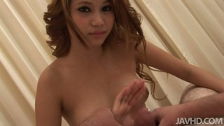 Hot and sexy brunette Asian babe Sisi gagging and cum swallowing Thumbnail