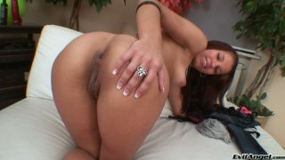 Gorgeous brunette babe Angel Rivas pokes her cunt with huge dildo Thumbnail